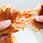 Sandwich pulled apart and cheesy