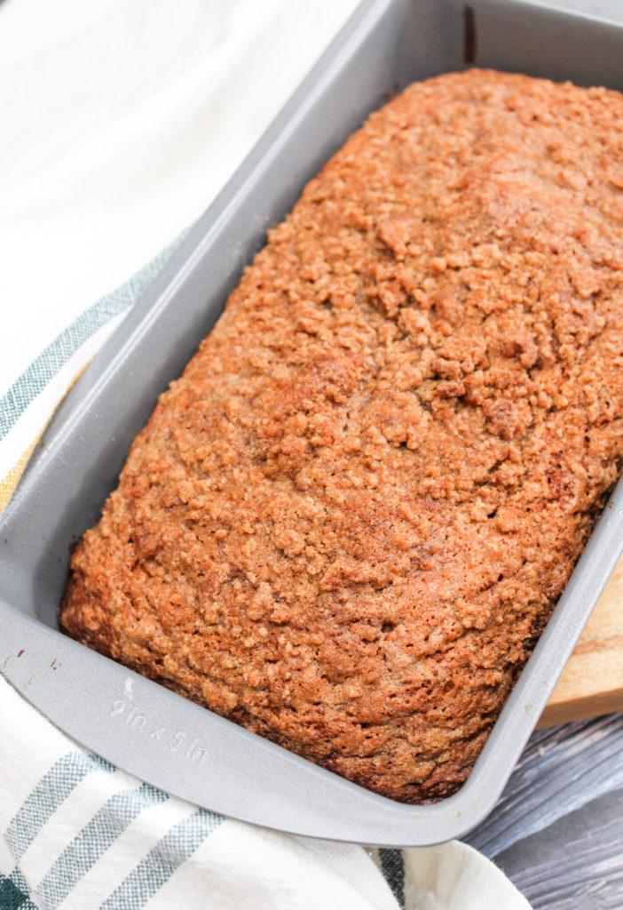 Banana Zucchini Crumble Bread in a pan