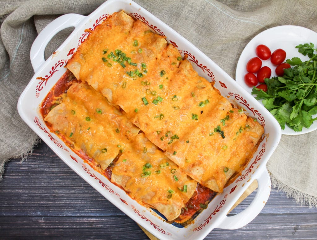 enchiladas in a casserole dish