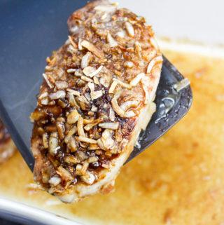 Pork chop in a baking dish