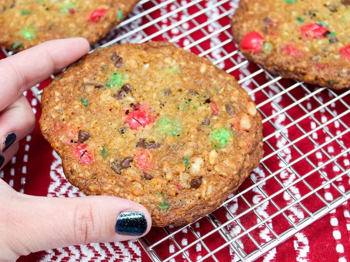 monster cookies held in hand