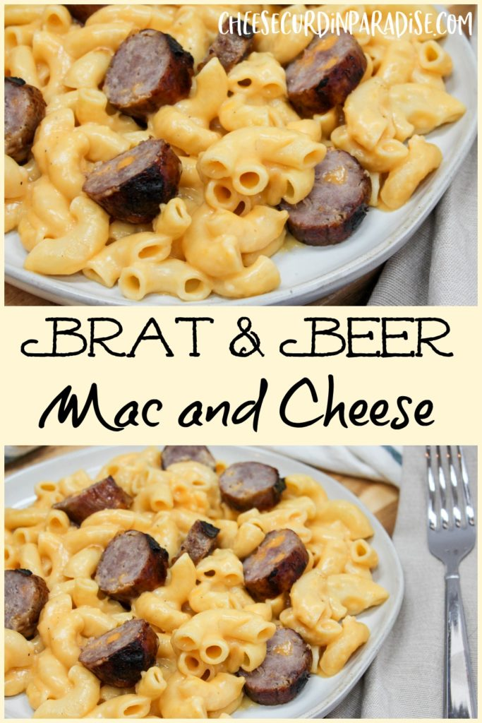 pasta and brats on a plate