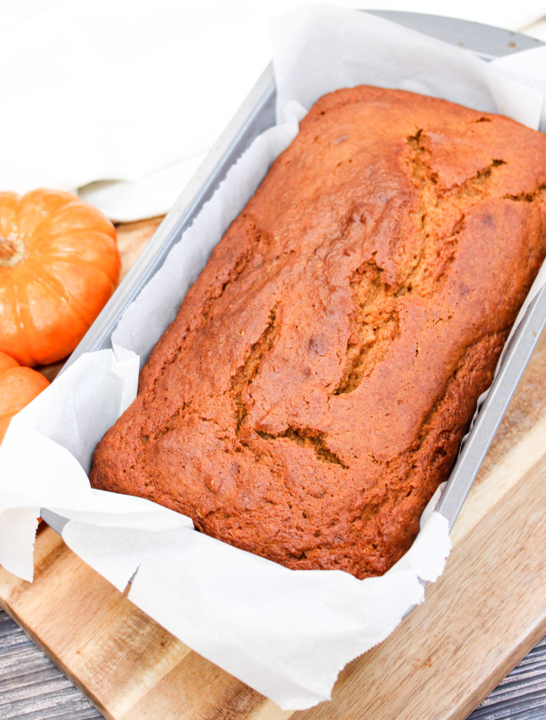 pumpkin bread in a pan