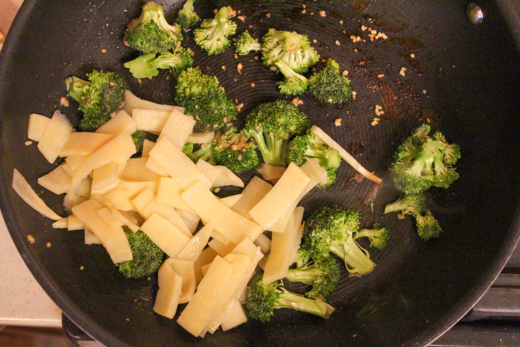 broccoli and bamboo in pan
