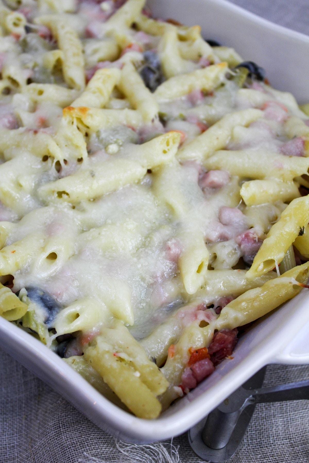 muffaletta casserole in a baking dish