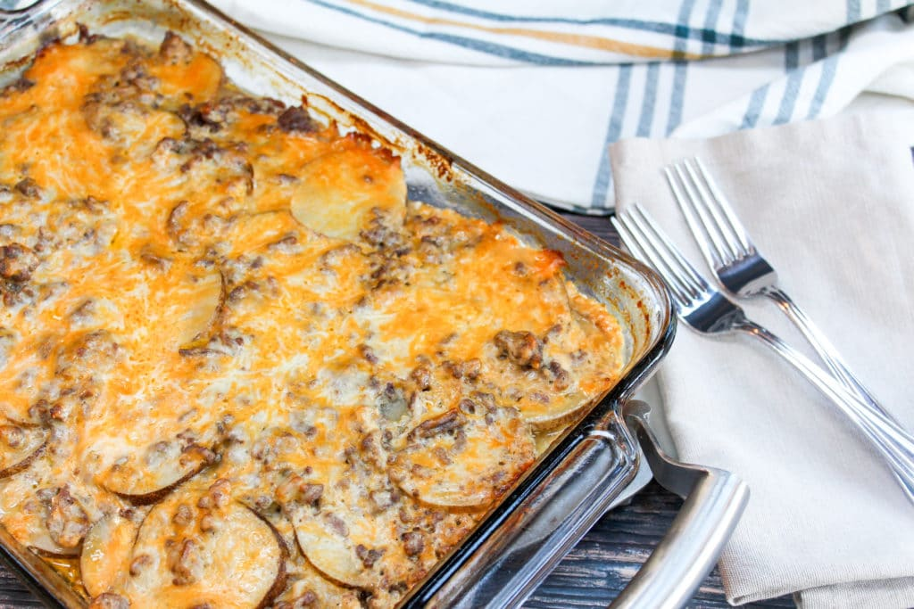 Casserole in a glass baking dish
