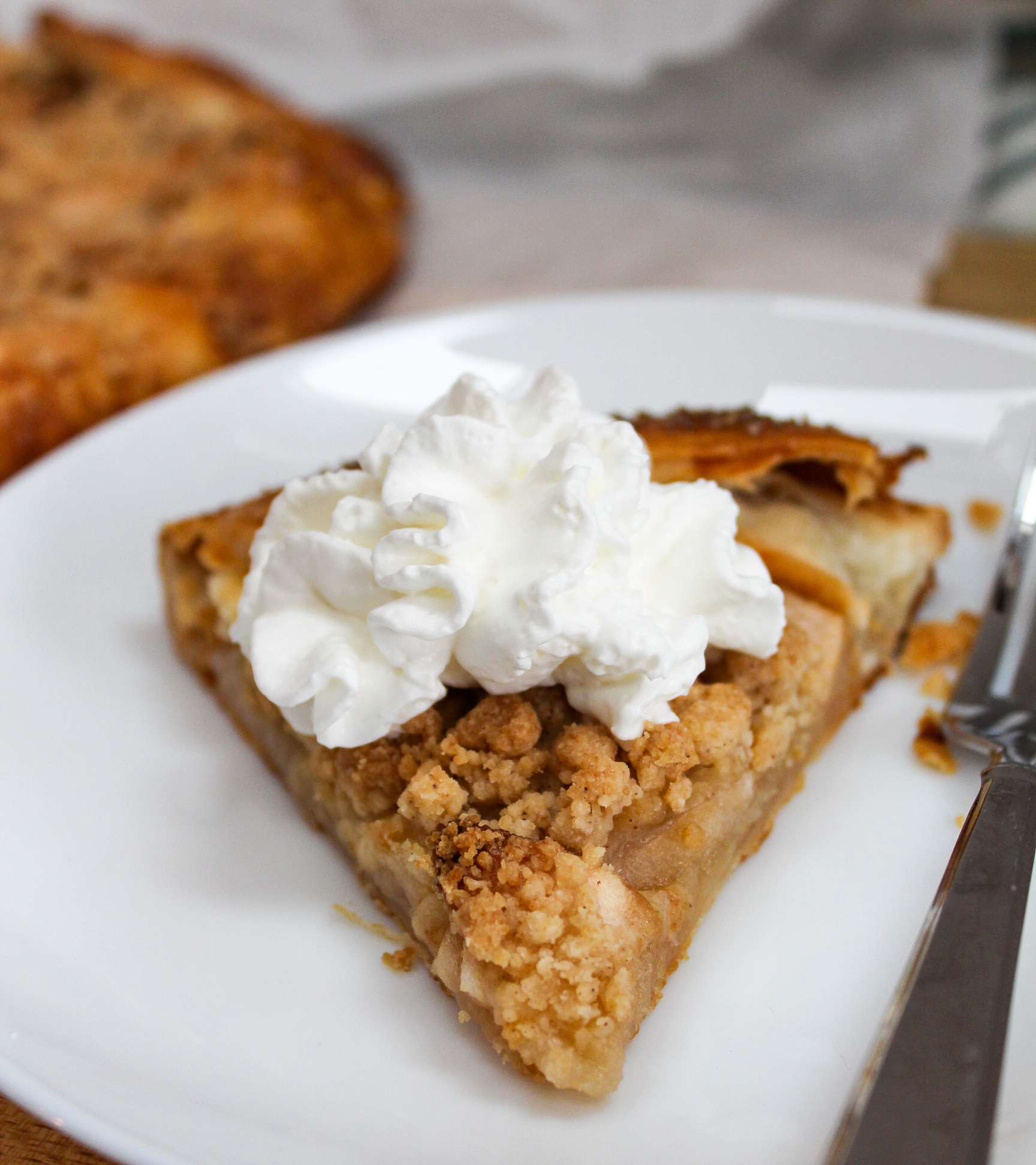apple galette with whipped cream