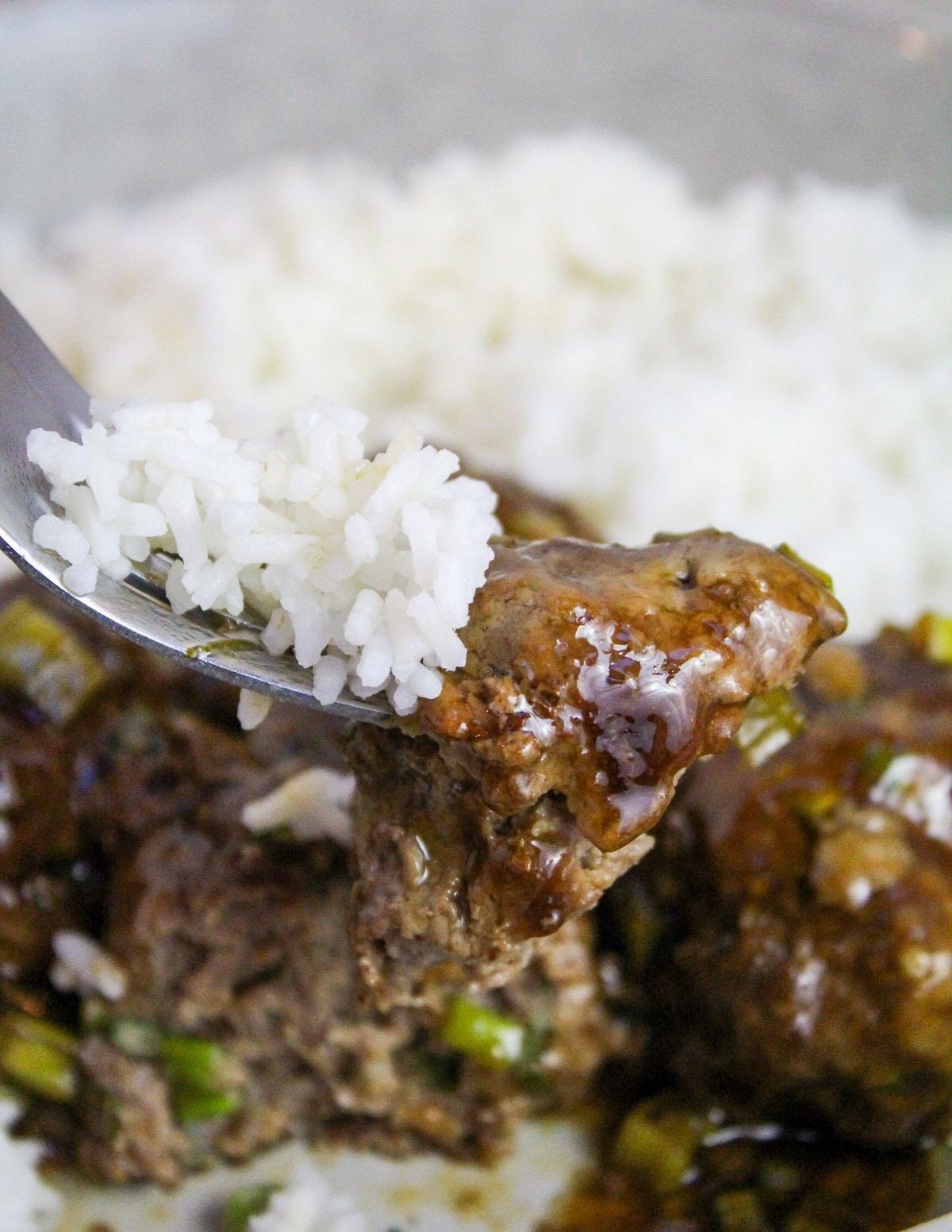 meatball on a fork with rice