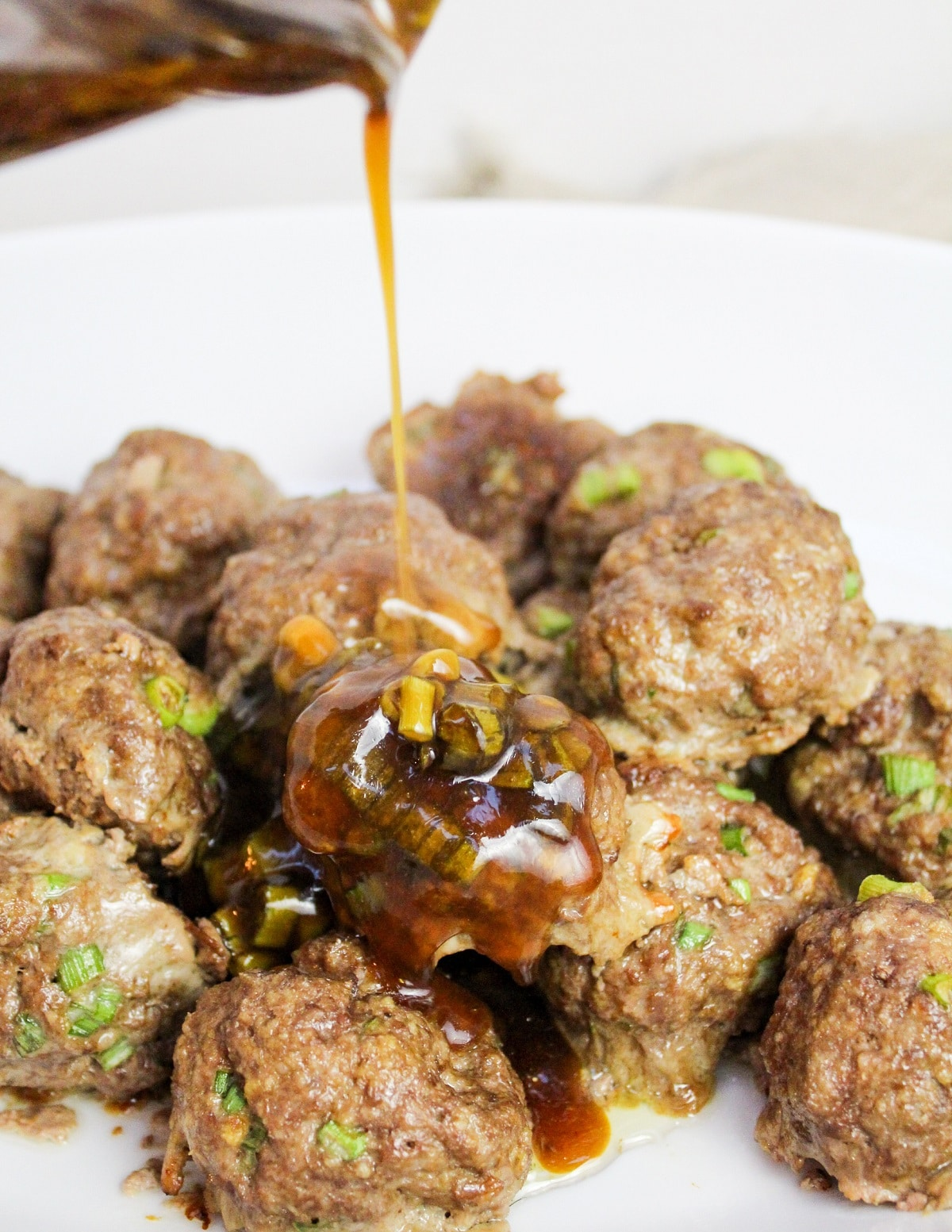 Meatballs with sauce on top