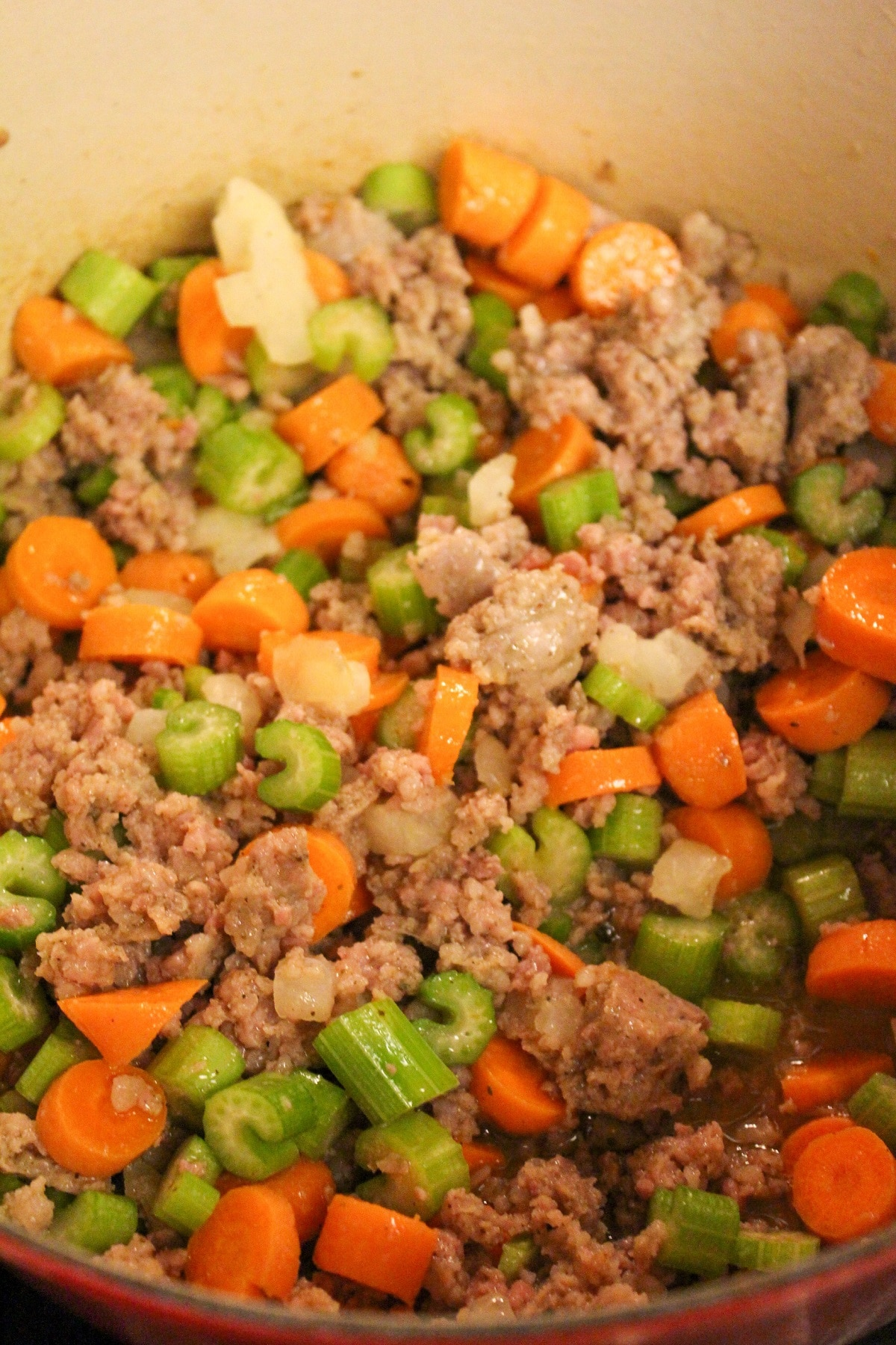 sausage carrots celery and onion