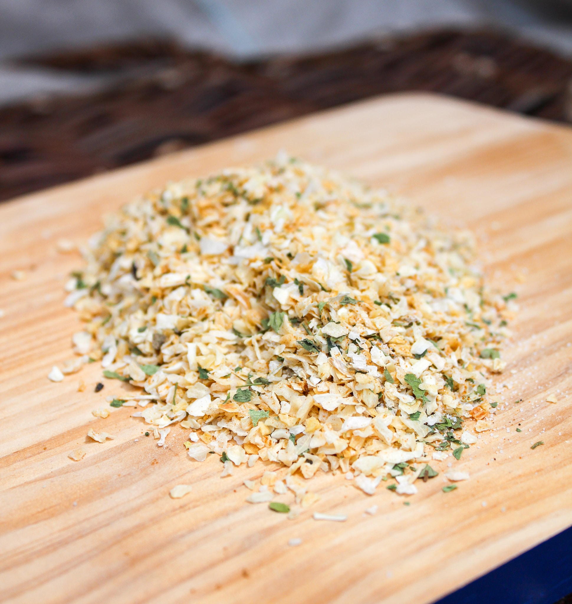 onion seasoning on a cutting board