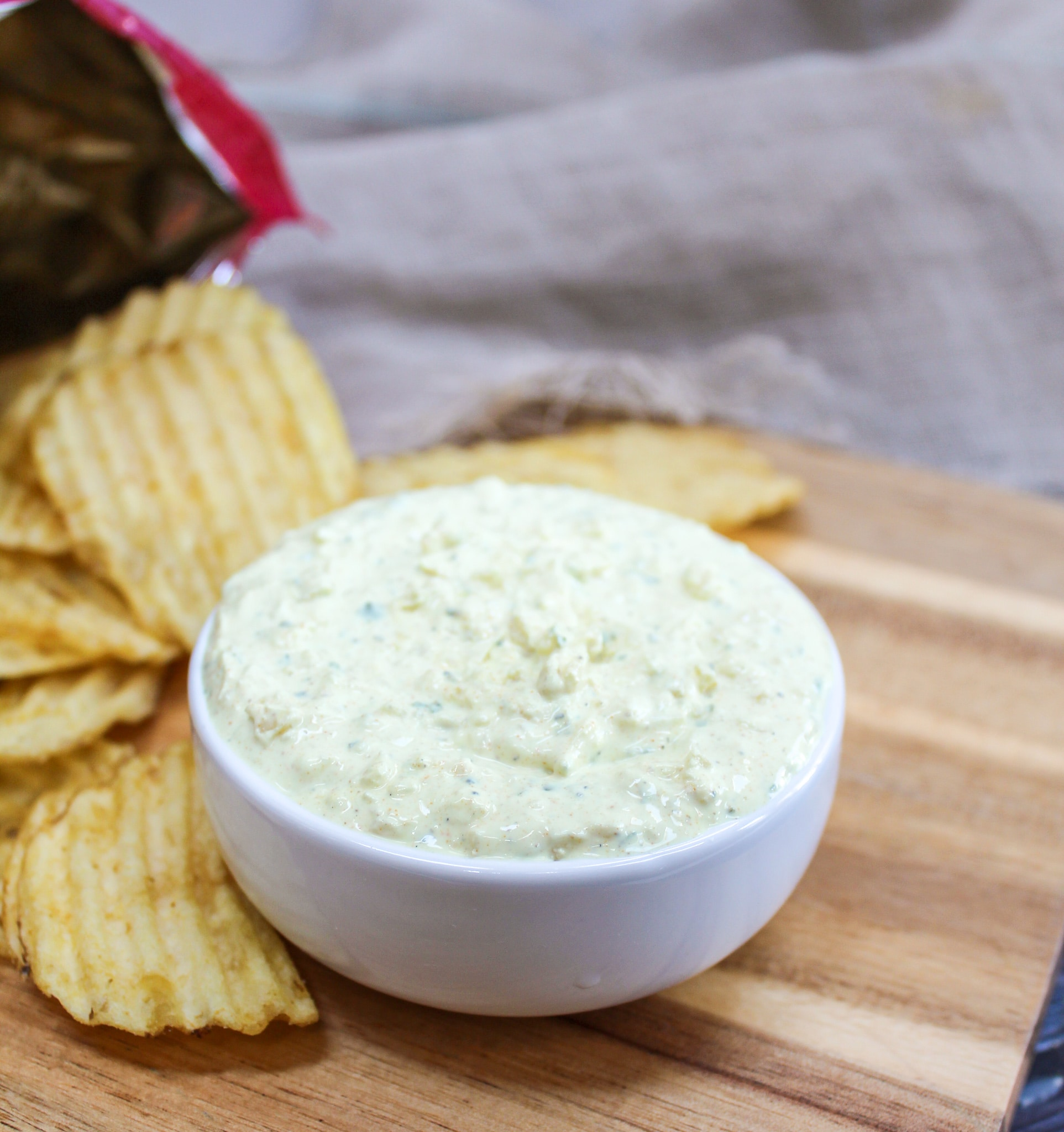 dip in a bowl with chips