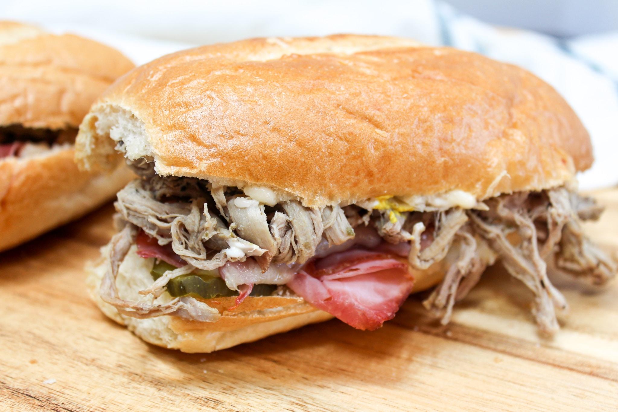 side view of uncut cuban sandwich