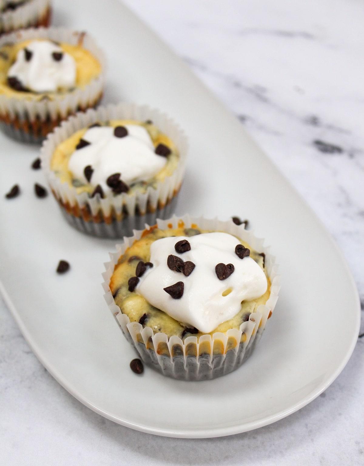 mini chocolate chip cheesecake on white plate
