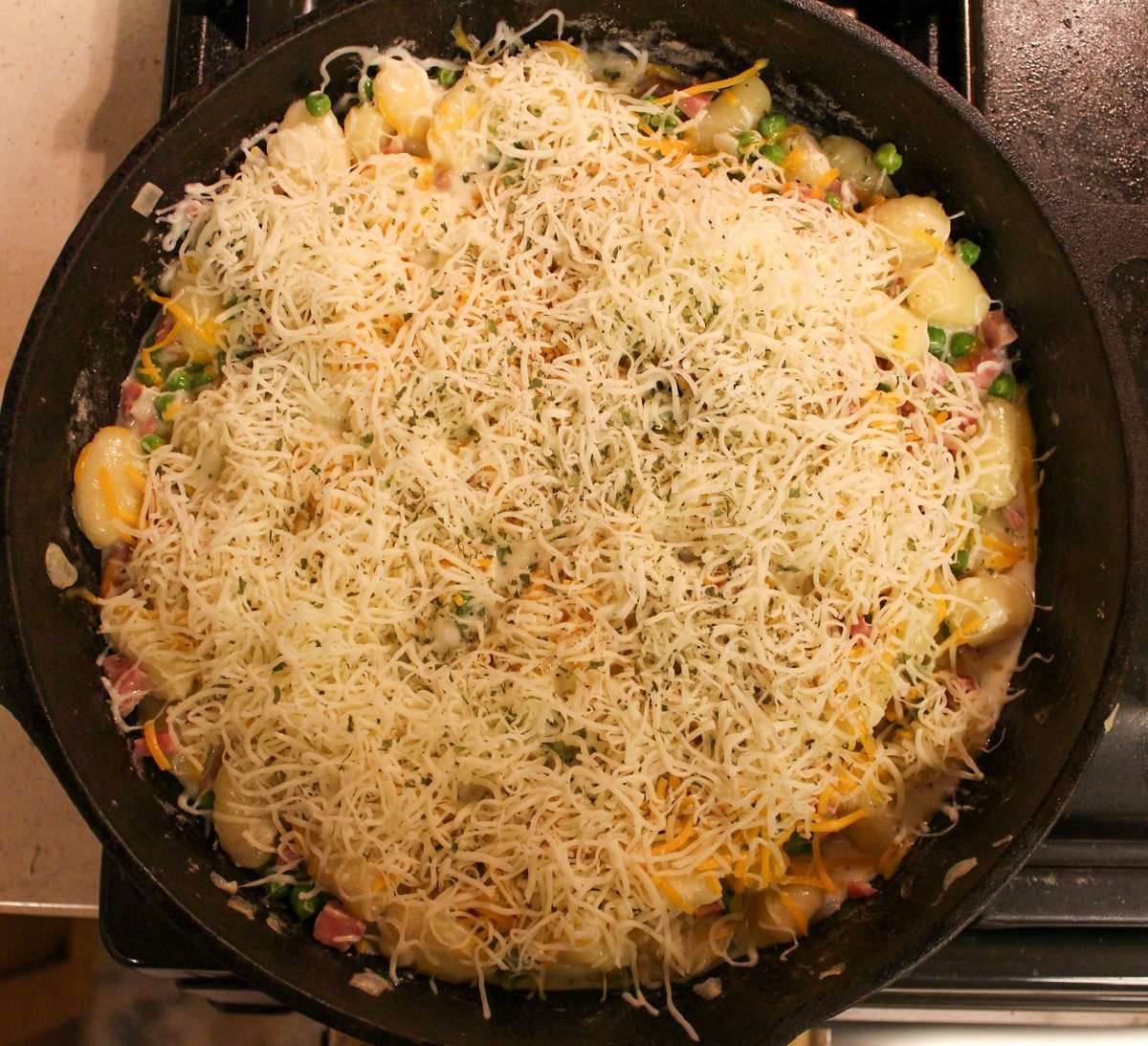prep photos for ham and cheese gnocchi skillet