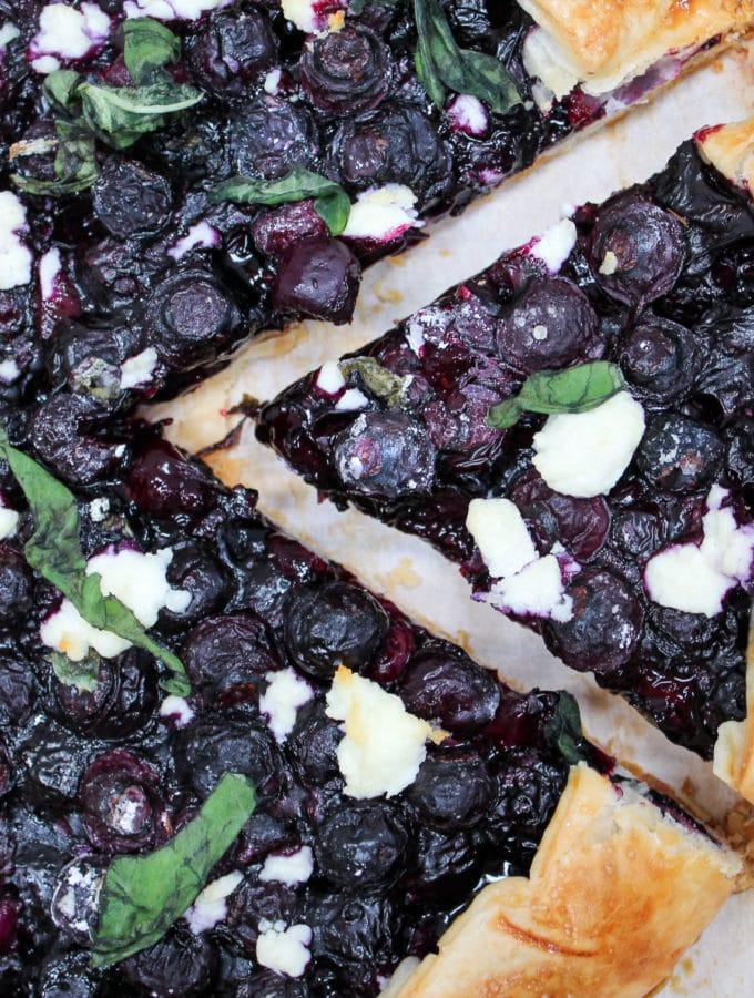 blueberry galette cut slice