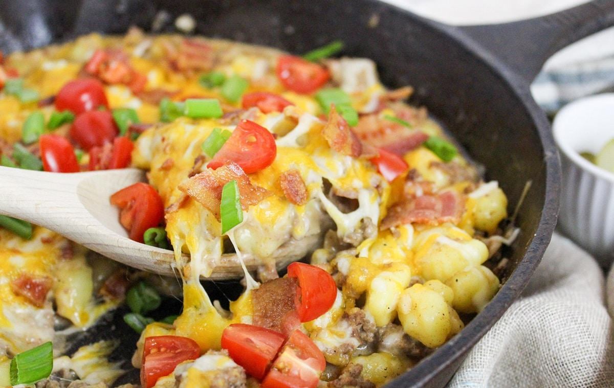 Bacon Cheeseburger Gnocchi Skillet in cast iron skillet