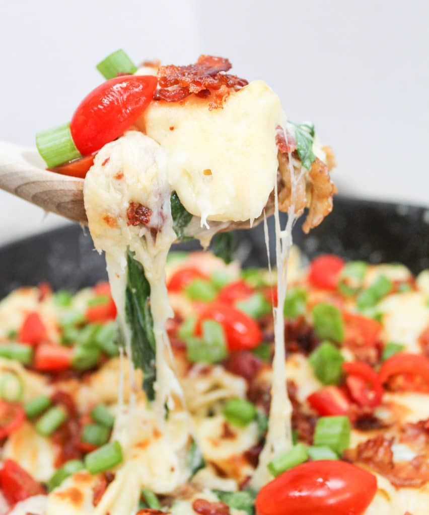 pasta scooped from skillet with cheese