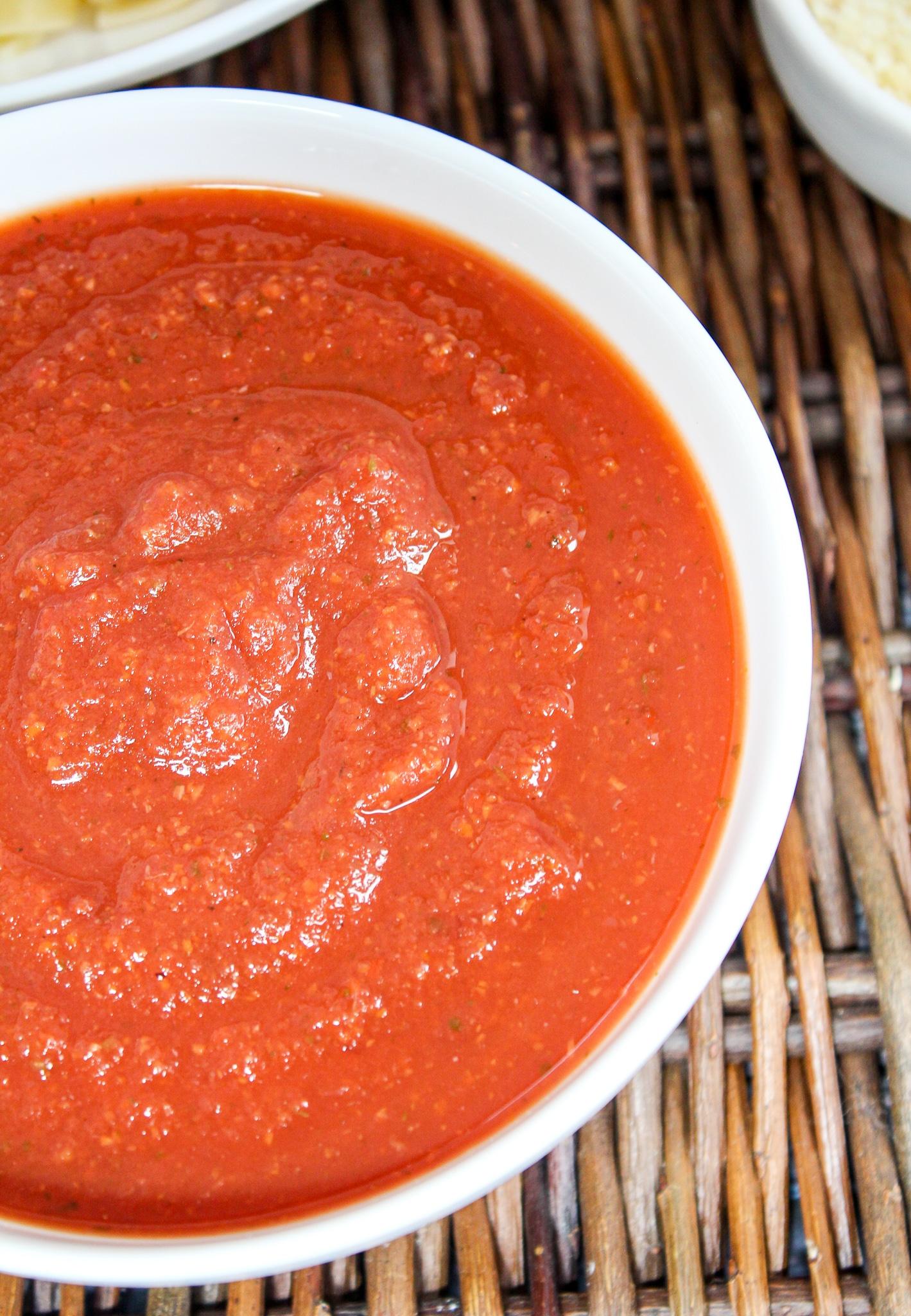 close-up shot of marinara sauce in a bowl