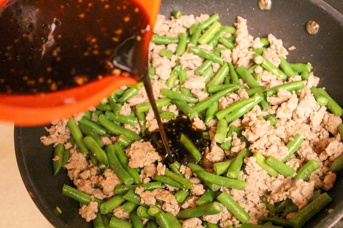 pork and green bean prep