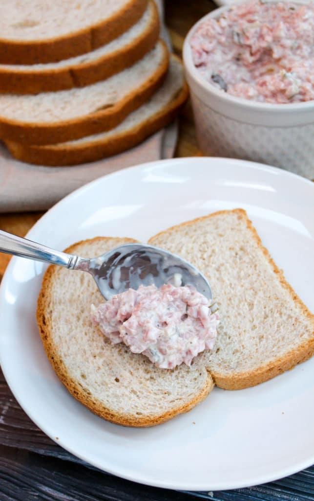 ham salad on bread