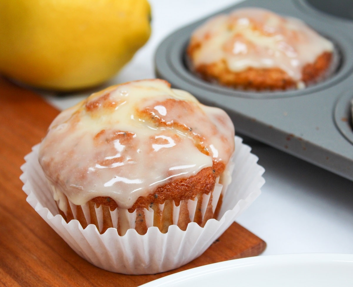 meyer lemon poppy seed muffin side view with wrapper
