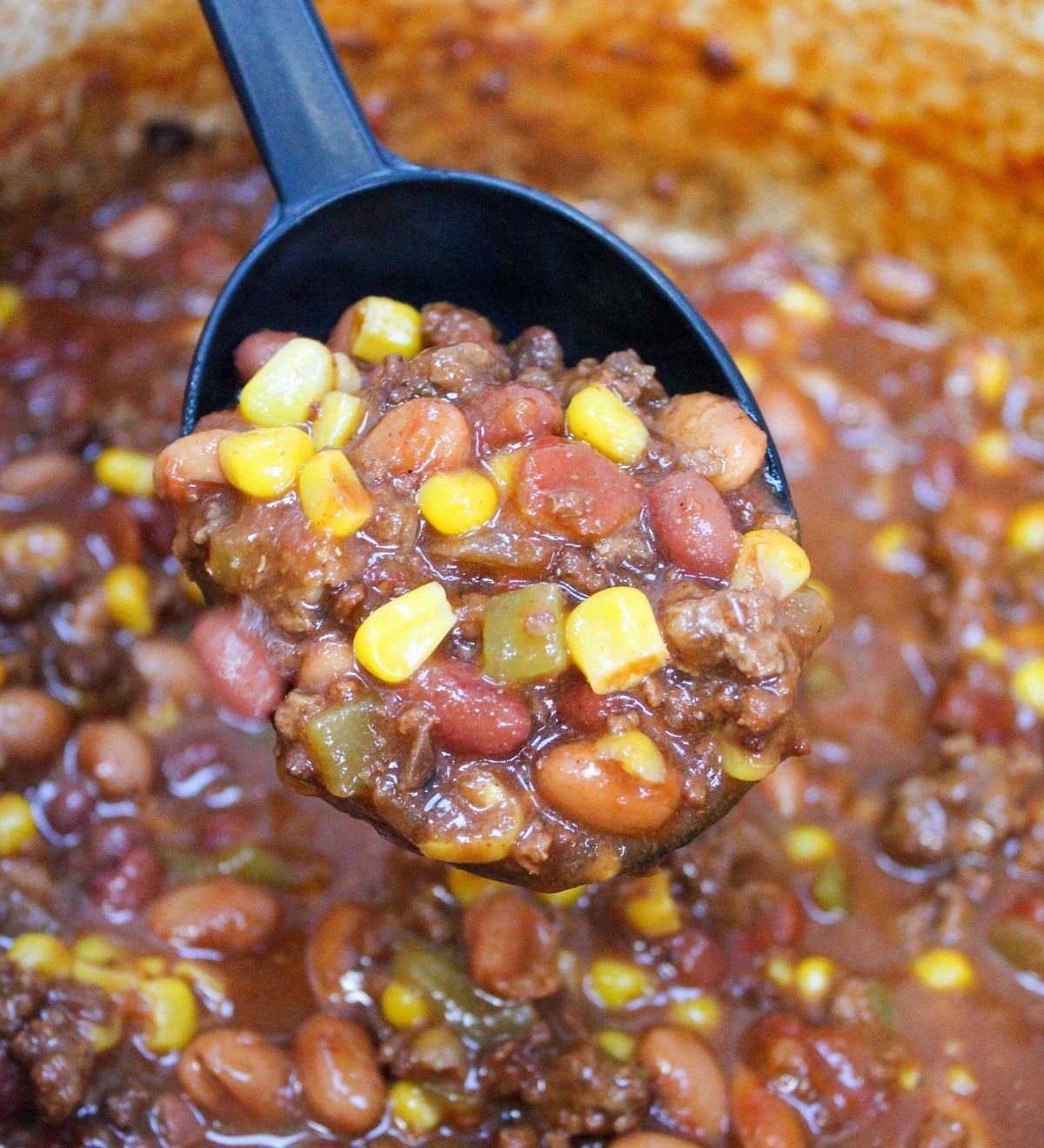 soup with a ladle