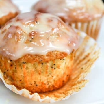 meyer lemon poppy seed muffin with wrapper off