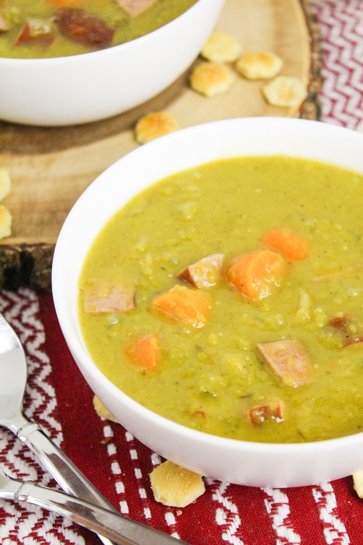 split pea and kielbasa soup in a bowl
