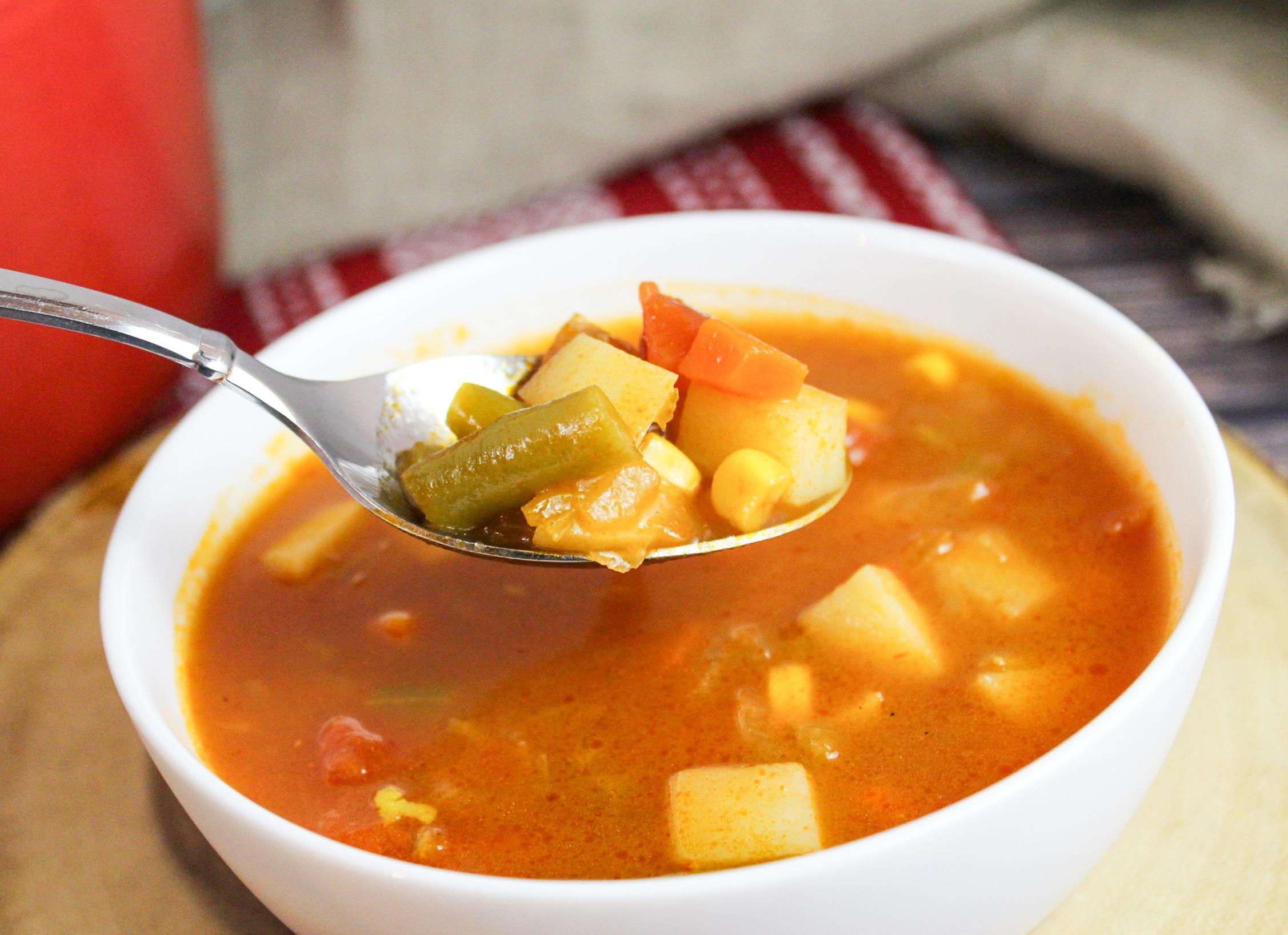 veggie soup on a spoon