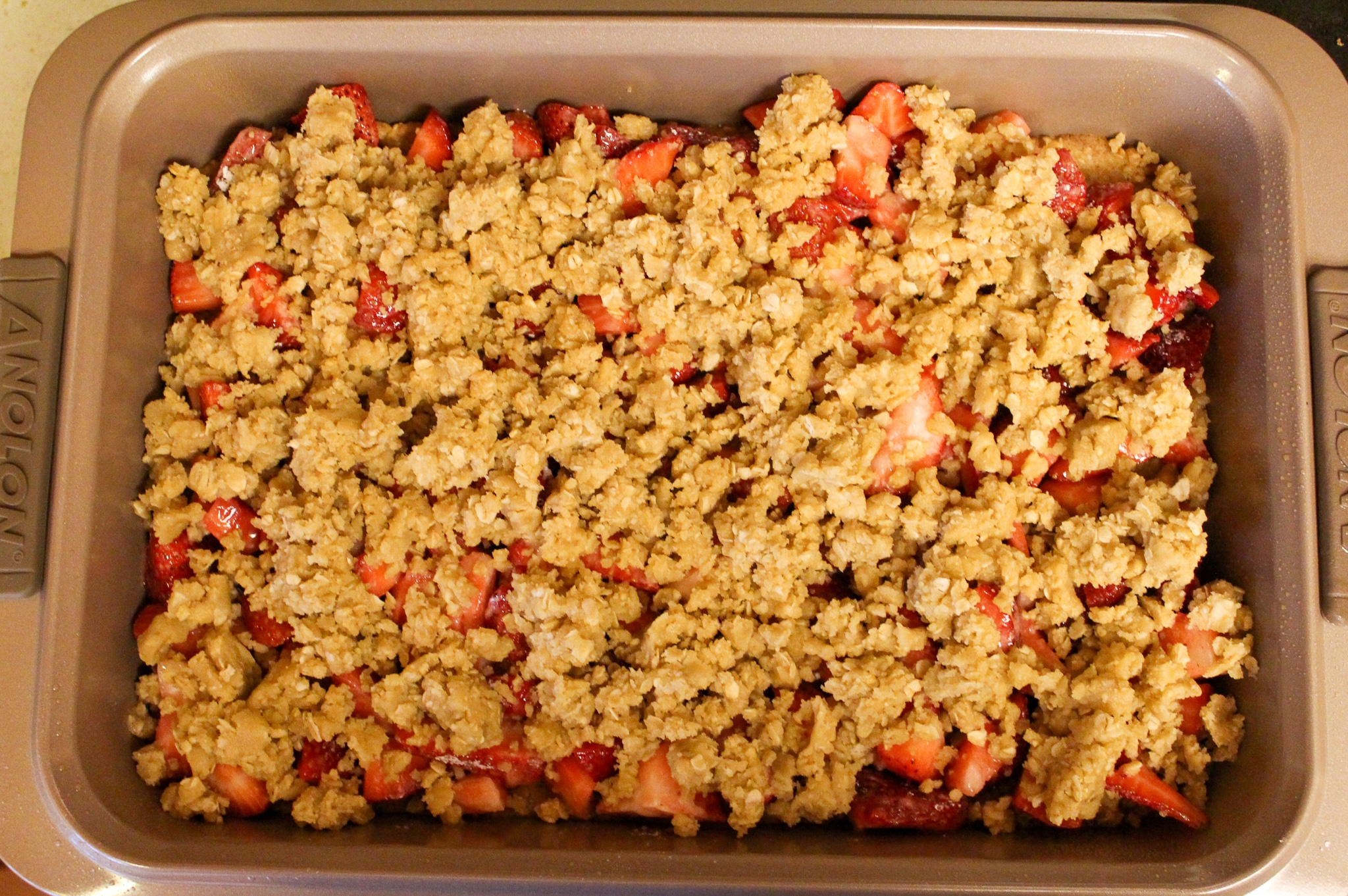 Strawberry Crumb Bars Preparation Photos and Ingredients