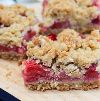 Strawberry Crumb Bars cut in squares