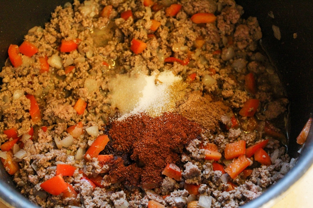 chili ingredients in a pot