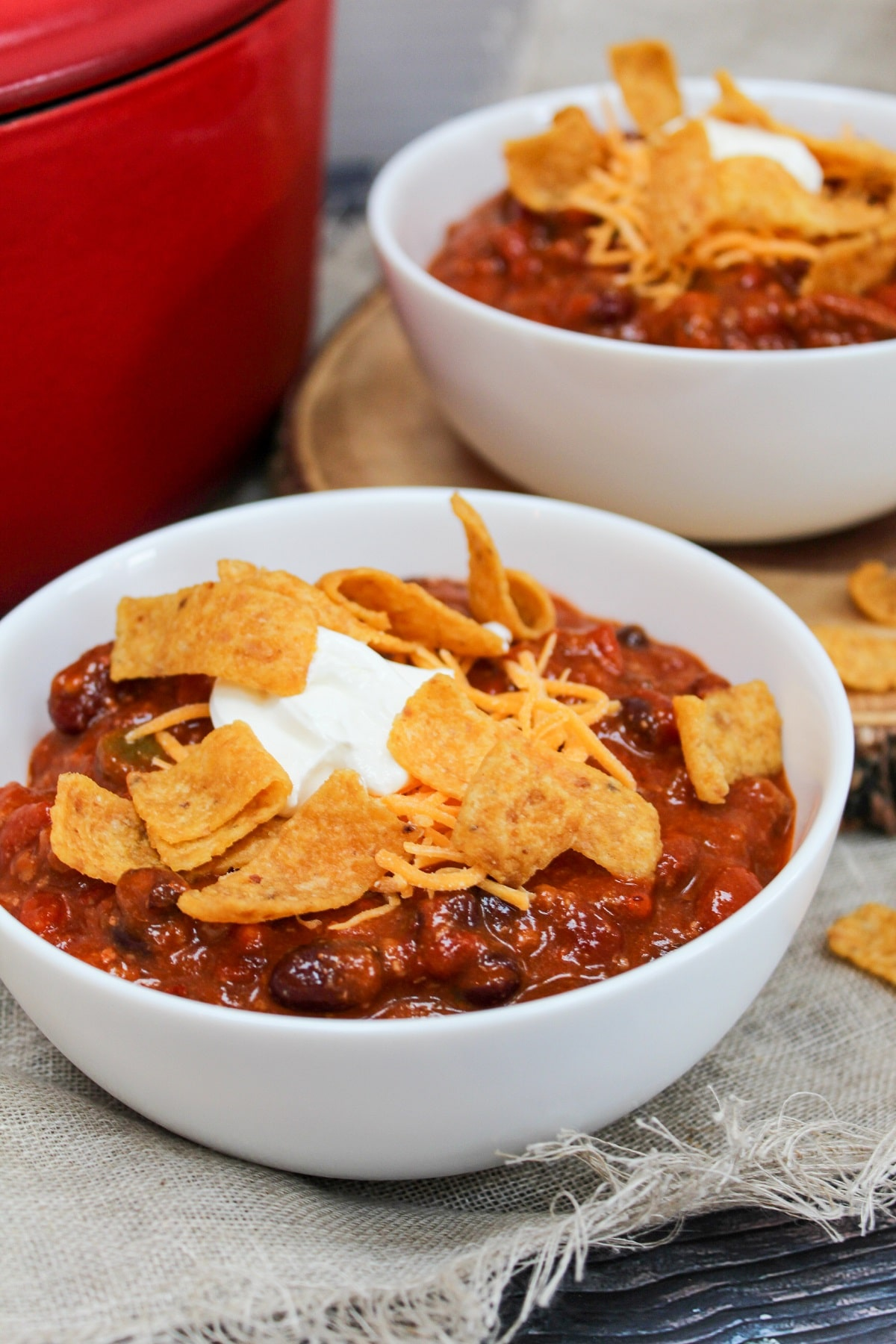chili in a bowl with corn chips
