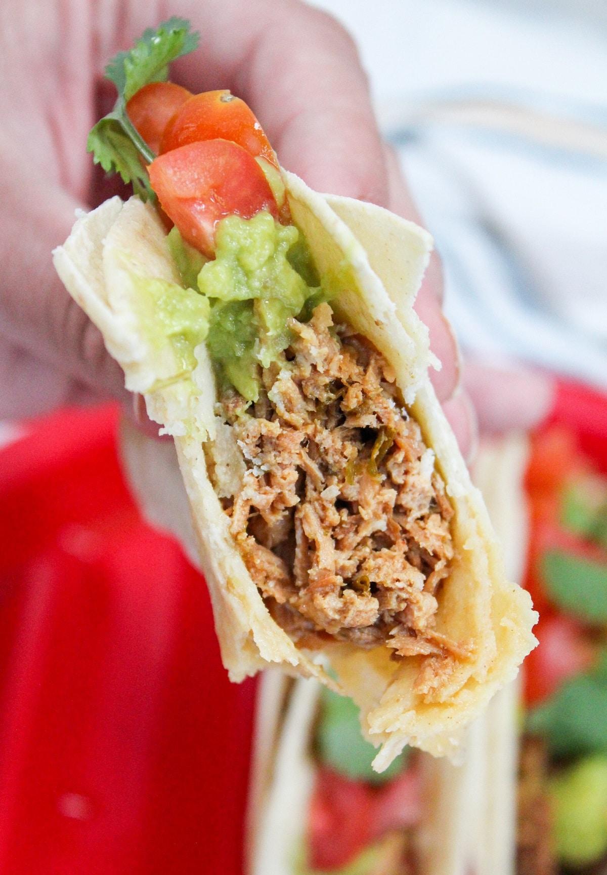 taco with bite taken