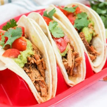 Honey Chili Lime Pork tacos on a red plate