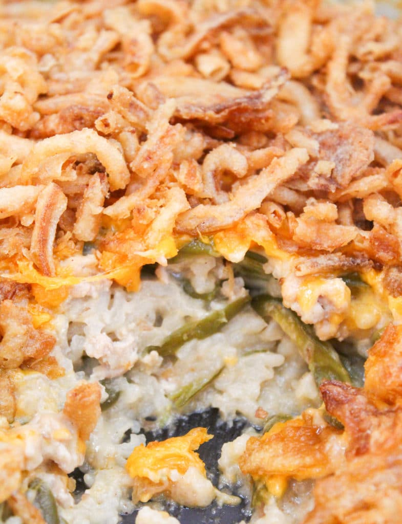 close-up of casserole in casserole dish