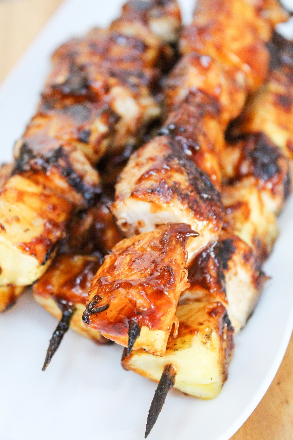 chicken pineapple with bbq sauce on a stick