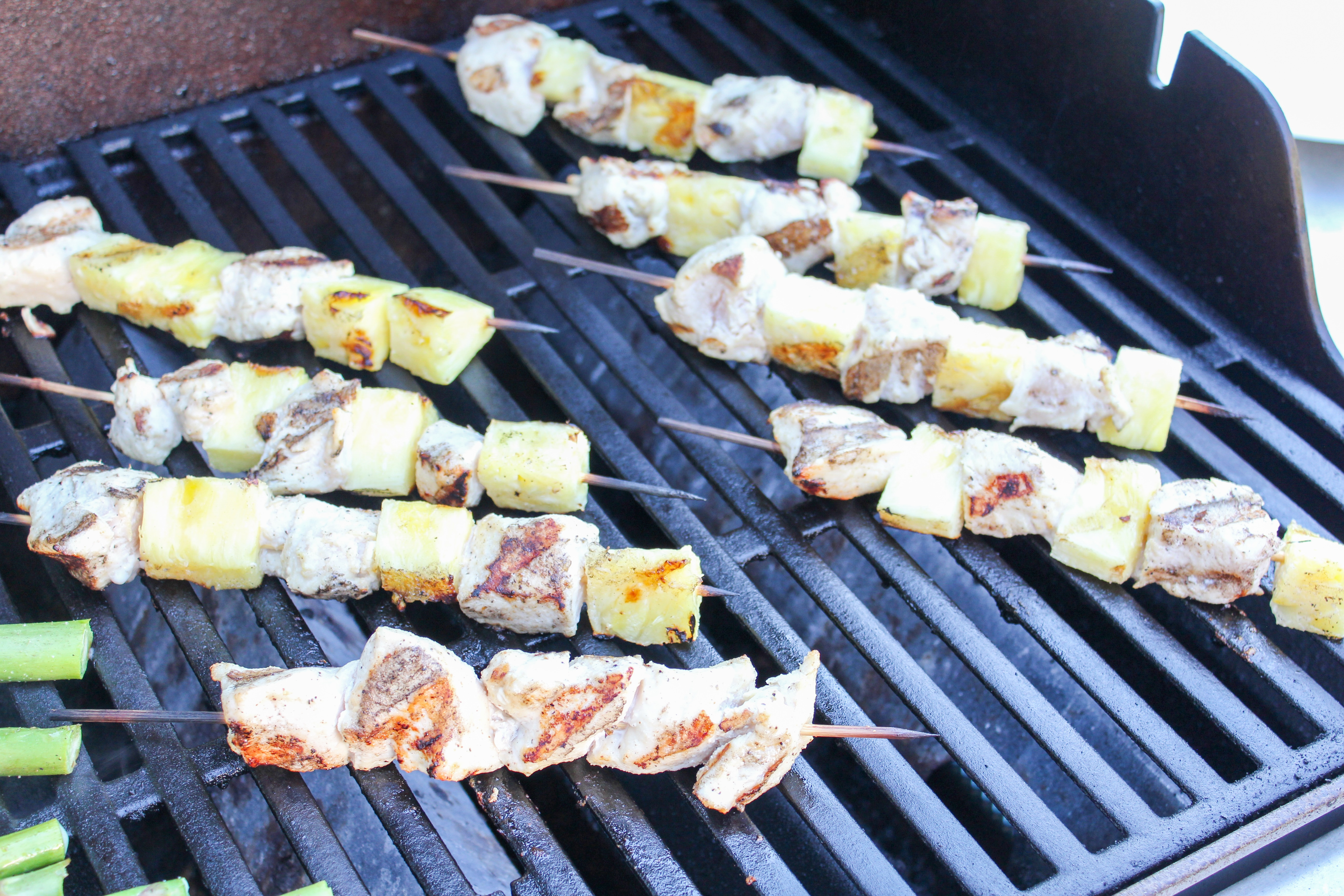 chicken pineapple on a stick on the grill