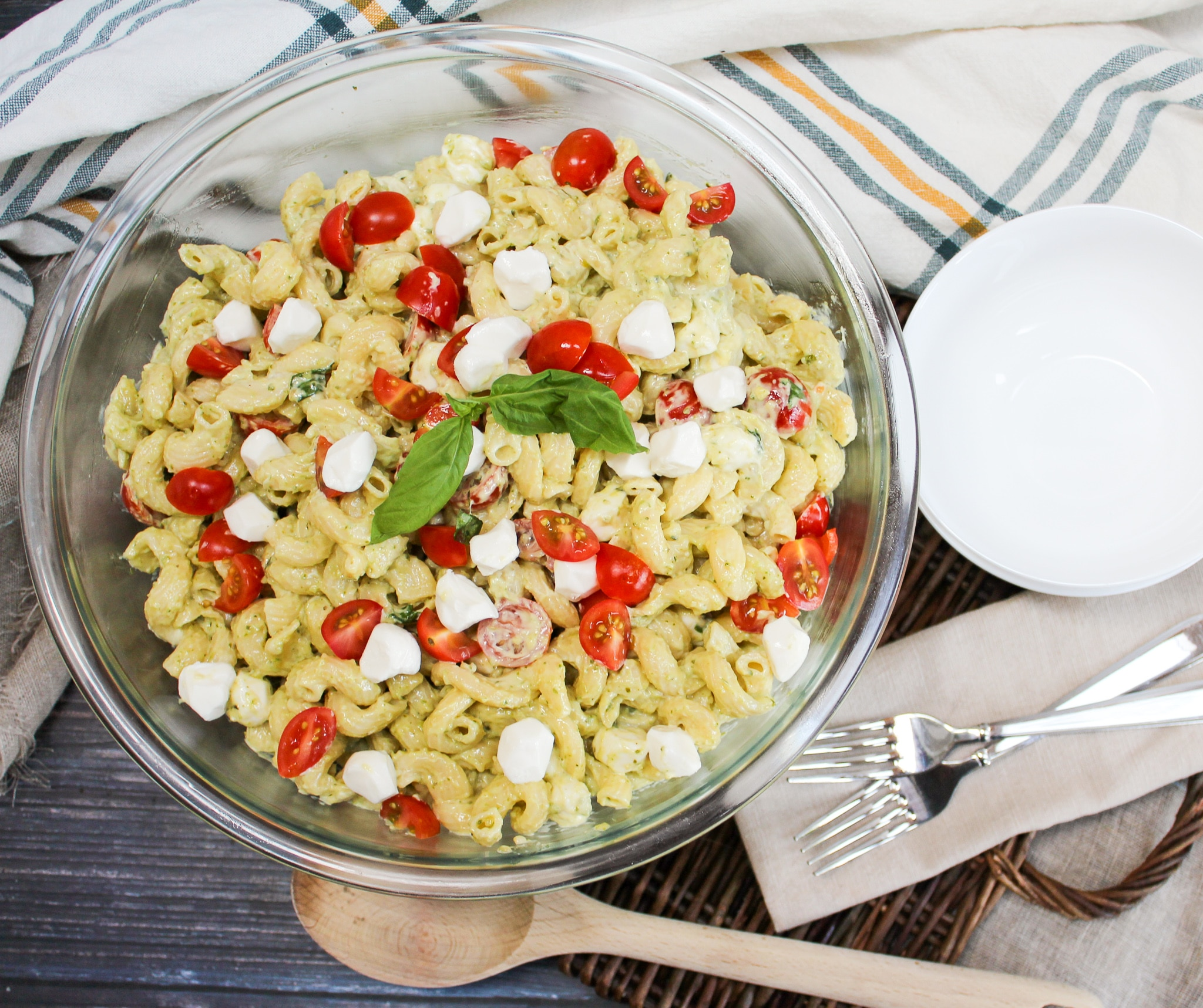 overhead picture of pasta salad in a glass bowl