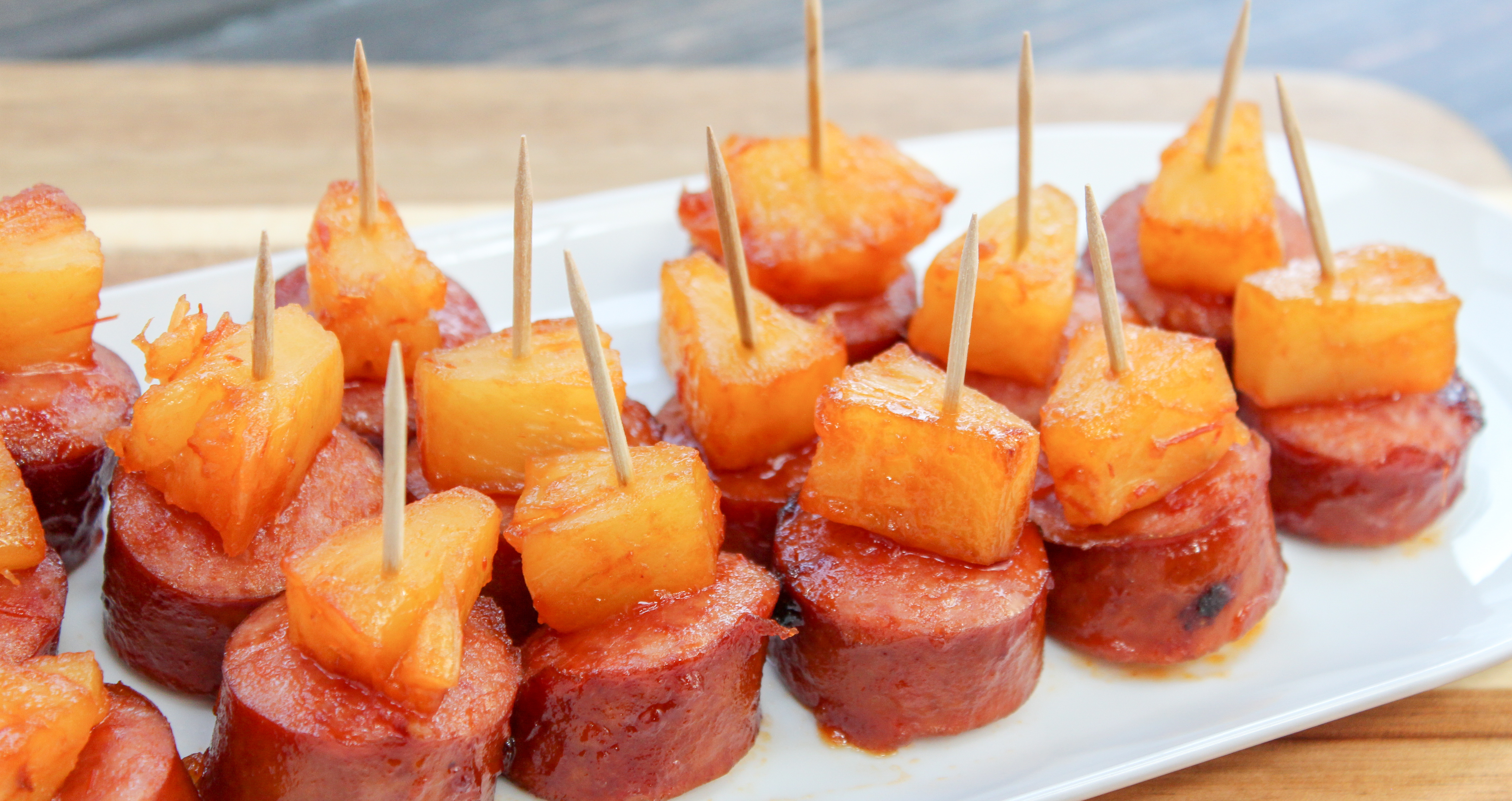 Sliced Smoked Sausage and Pineapple on a Toothpick