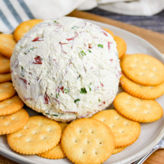 Cheese Ball on a Plate with Crackers