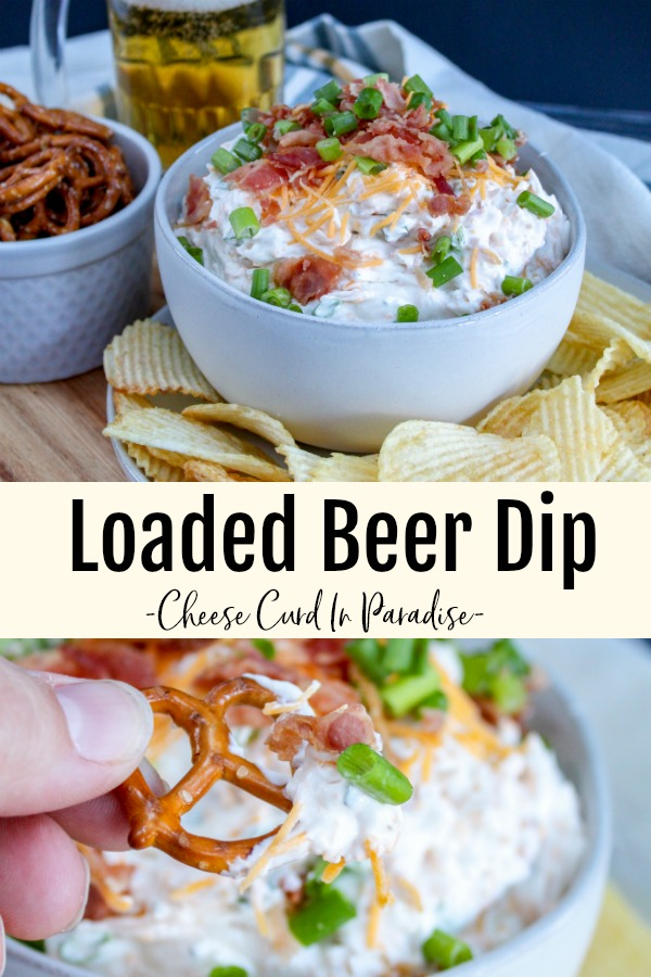 Beer dip in a bowl and a pretzel dipped in the beer dip