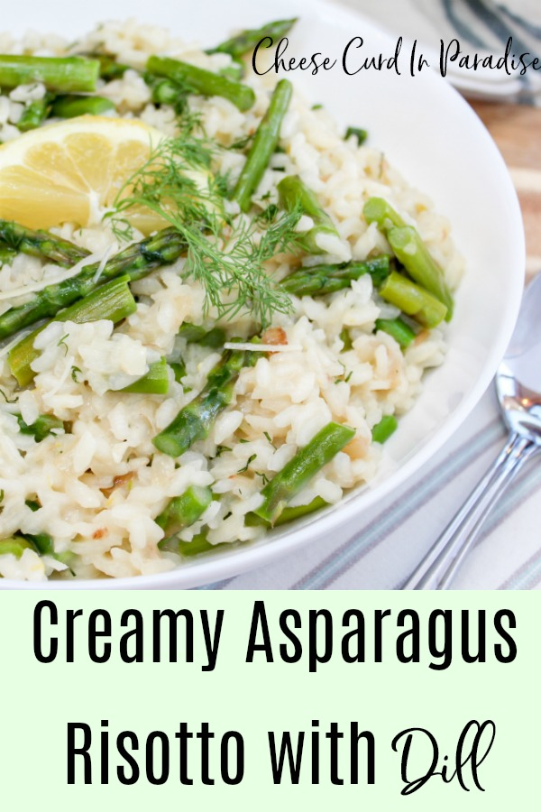 Asparagus risotto in a bowl