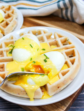 Waffles and eggs on a plate