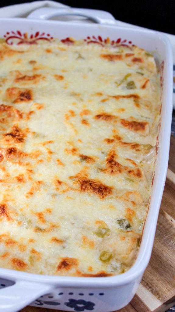 Chicken enchiladas in a baking dish