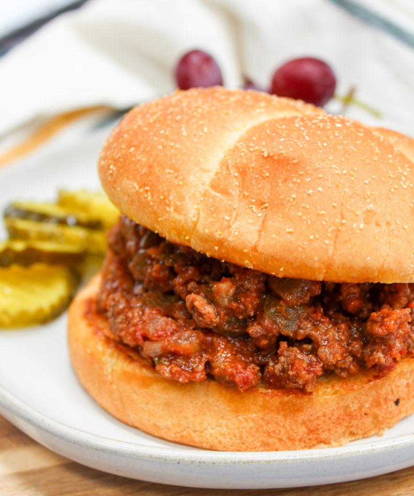 Sloppy Joe Sandwich on a plate
