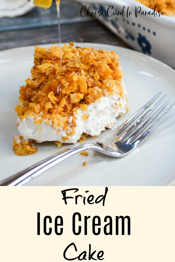 fried ice cream cake on a plate with honey