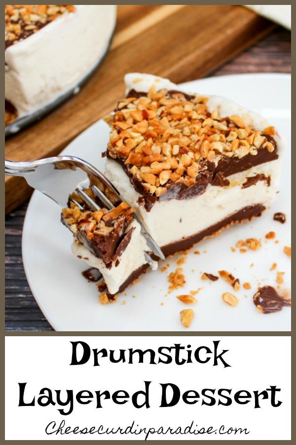 Slice of ice cream cake and Pinterest image