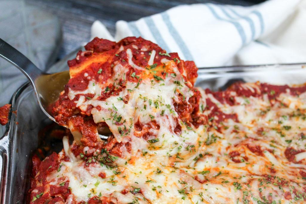 Lasagna in a casserole dish